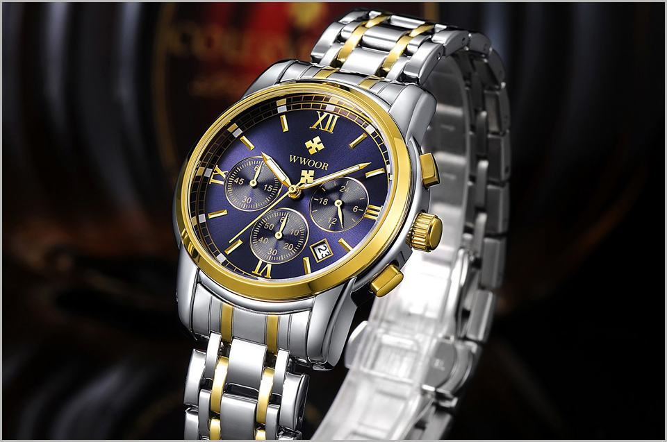 New Gold Quartz Wristwatch Men Watches Top Brand Luxury Stainless Steel Male Wrist Watch Golden Clock Relogio Masculino (6)