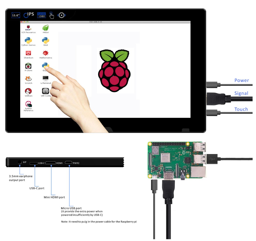 11.6 Inch 1080P Raspberry Pi Touchscreen -1920*1080 FHD IPS Display-USB/HDMI Video Input Portable Monitor PS3 PS4 Gaming Screen