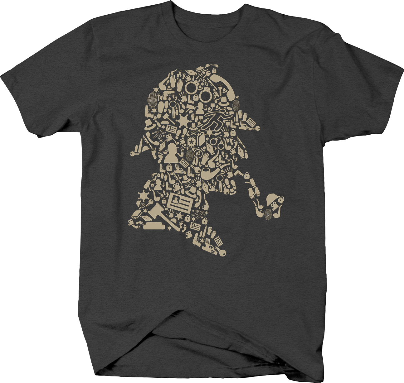 Sherlock Mystery Detective Image Mosaic of Profile with Pipe Tshirt