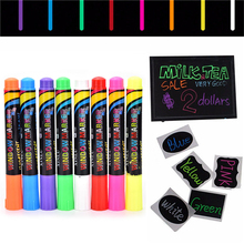 1PC Erasable Multi Colored Highlighters Liquid Chalk Marker Pens LED Writing Board GlassWindow Art8 Colours Marker Pens