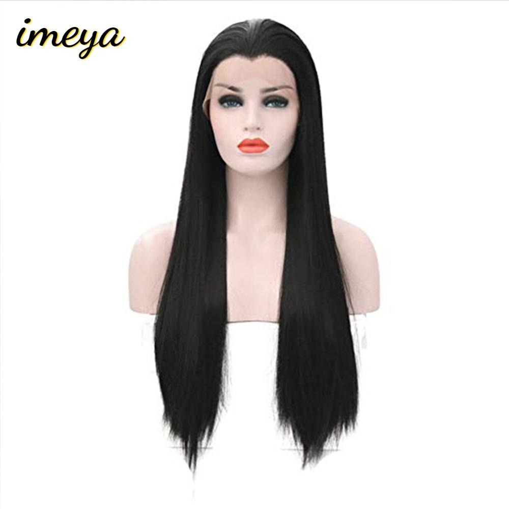 Imeya Long Synthetic Lace Front Wig Widow's Peak Free Part Heat Resistant Fiber Straight Hair Wigs For Women