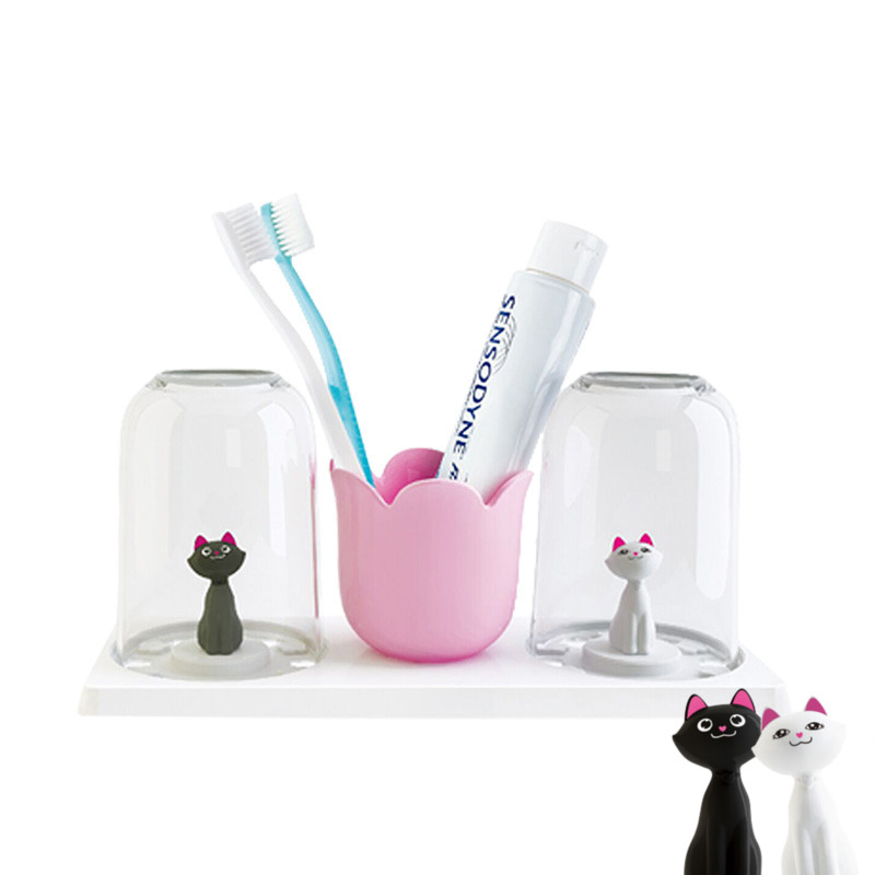 Creative cartoon plastic toothpaste tumbler toothbrush for Bathroom accessories plastic
