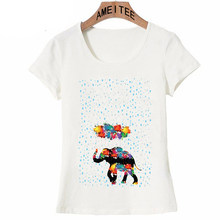 a644cd4e3f561a I love Rainbow Rain print T-Shirt Summer Fashion Women T Shirts Colorful  Elephant in Rain Art Casual Tops Cute Girl Tees