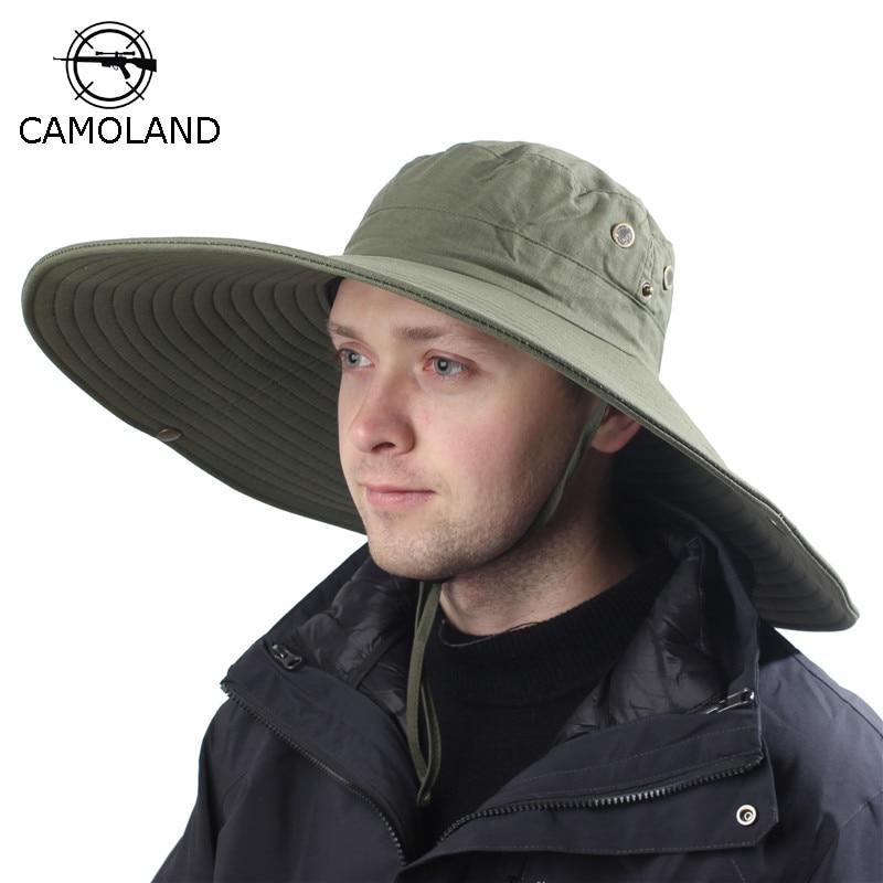 16 см с широкими полями дышащая шляпа от солнца шляпа для сафари Мужчины Женщины Мужчины Boonie шляпа летняя Защита от УФ-лучей Кепка для походо...