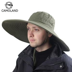 Image 1 - 16cm Long Wide Brim Sun Hat Breathable Safari Hat Men Women Boonie Hat Summer UV Protection Cap Hiking Fishing Bucket Hat Beach