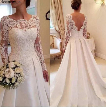 Long Sleeves Wedding Dresses 2020 Boat Neck Open Back Lace Appliques Modern Long Stain Bridal Gowns Vestido De Novia Customized