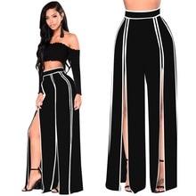 High Split Stripe Wide Leg Pants Women Summer Beach High Waist Trousers Chic Streetwear Solid Casual Pants Female