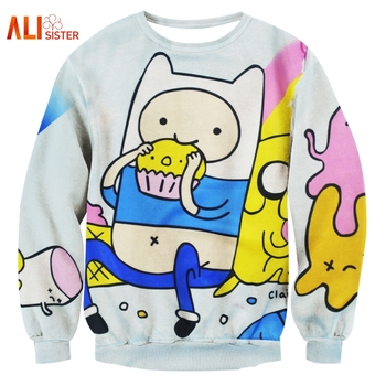 Alisister Harajuku стиль для женщин/для мужчин время приключений Толстовка принт Забавный мультфильм печенье 3D толстовки пуловеры для Kawaii одежда