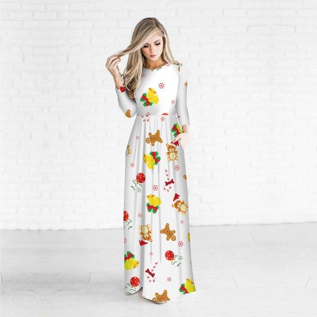 abba5ba75 Moda modelo Vestidos 3D Navidad regalo impreso blanco vestido casual  vintage ropa o cuello hermoso vestido