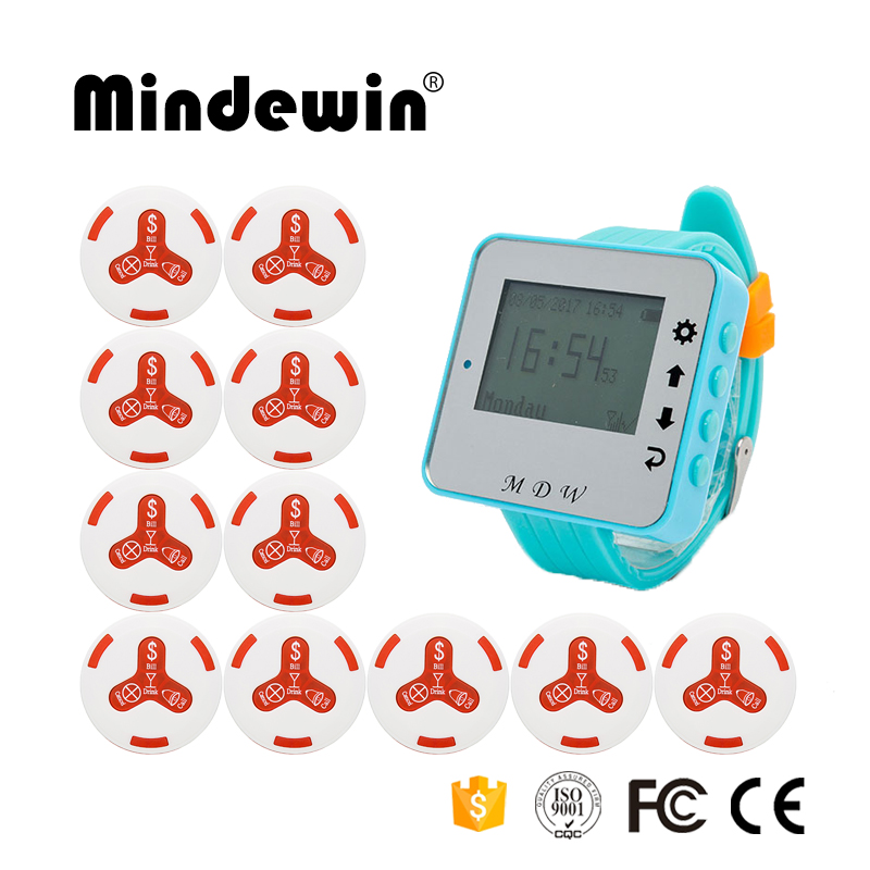 Restaurant Wireless Call Bell System 10PCS Waterproof Call Button M-K-4 and 1PCS Wrist Watch Pager M-W-1 Guest Paging System waiter restaurant guest paging system including wrist pager watch call bell button and display receiver show customer service