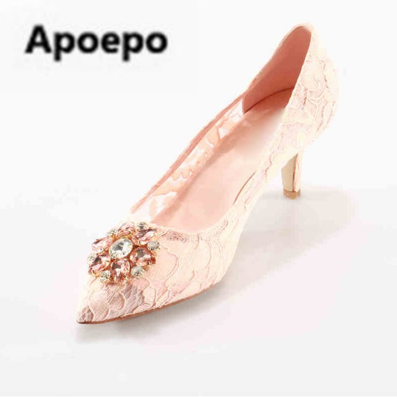Apoepo brand Crystal Sexy Lace Bridal Shoes Med Heels Pointed Toe Dress Party Pumps Woman Luxury Handmade Designer Pink Shoes shofoo newest women shoes med heels pointed toe pumps for woman dress