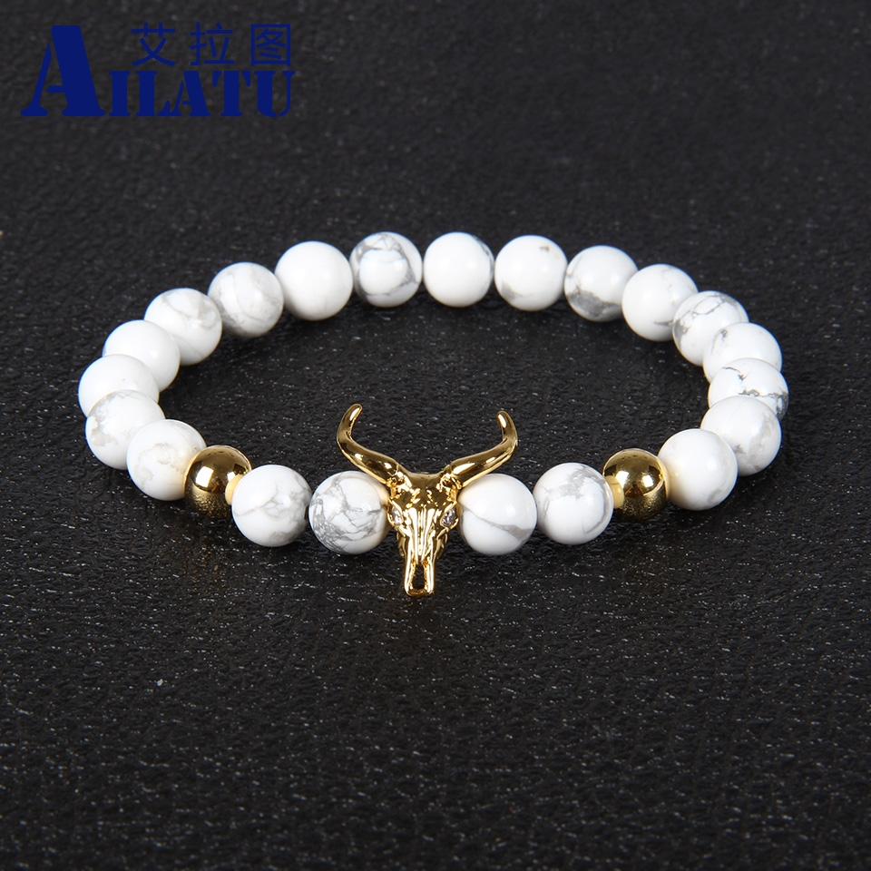 Marble Stone Jewelry : Ailatu mm white howlite marble stone beads cow head