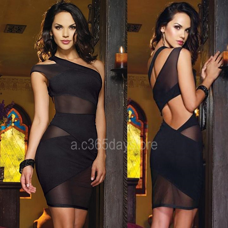 c1266dfe05f Sexy Women s Summer Dress One Shoulder Sleeveless Cut Out Mesh Patchwork Dress  Black White Bodycon Party Night Club Dresses