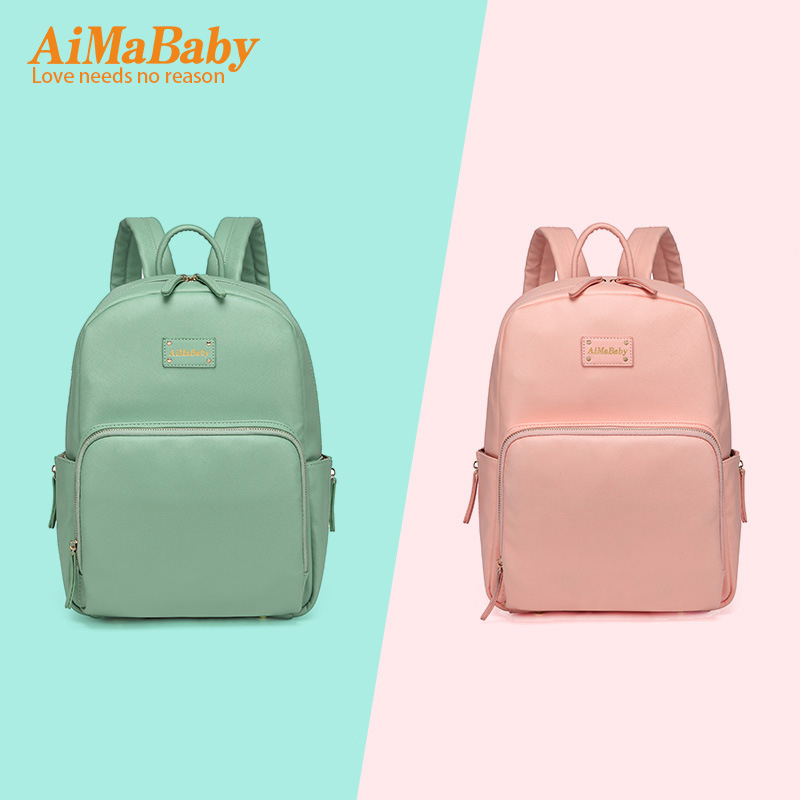 AIMABABY 3pcs PU Waterproof Material Fashion Mummy Maternity Diaper Bag Multi-Function Nappy Backpack Large Capacity Baby Bag