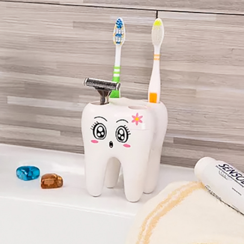 Teeth Style 4 Hole Stand Tooth Brush Shelf Bathroom