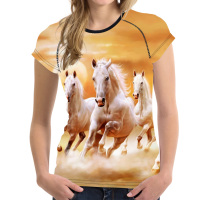 FORUDESIGNS 3D Funny Crazy Horse Printed Women T Shirt For Girl Novelty Female Shirt Short Sleeved