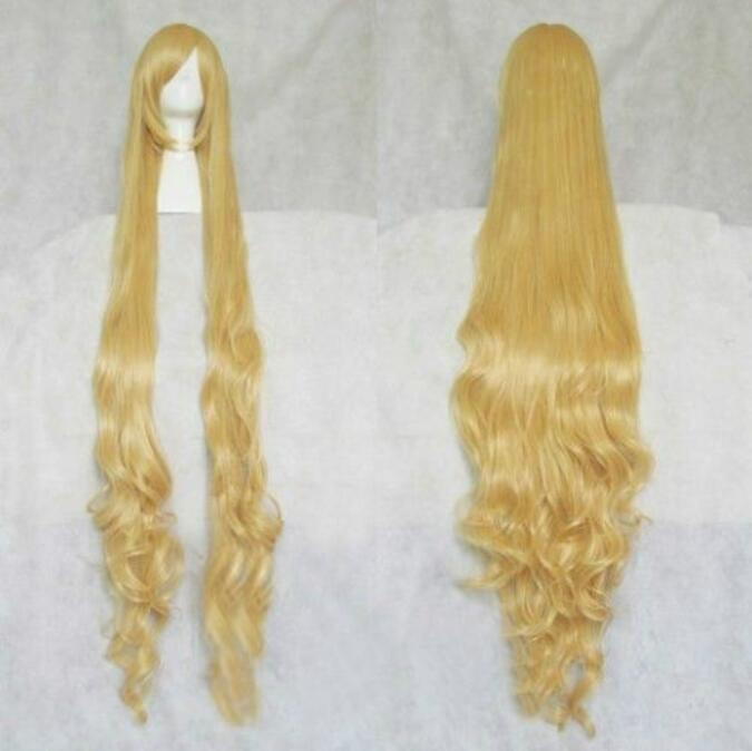 Jewelry Wig  Fashion Extra Long Blonde Stylish Curly Hair Cosplay Wavy Wig 150cm Free Shipping(China)