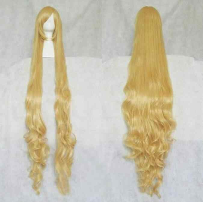 Jewelry Wig  Fashion Extra Long Blonde Stylish Curly Hair Cosplay Wavy Wig 150cm Free Shipping