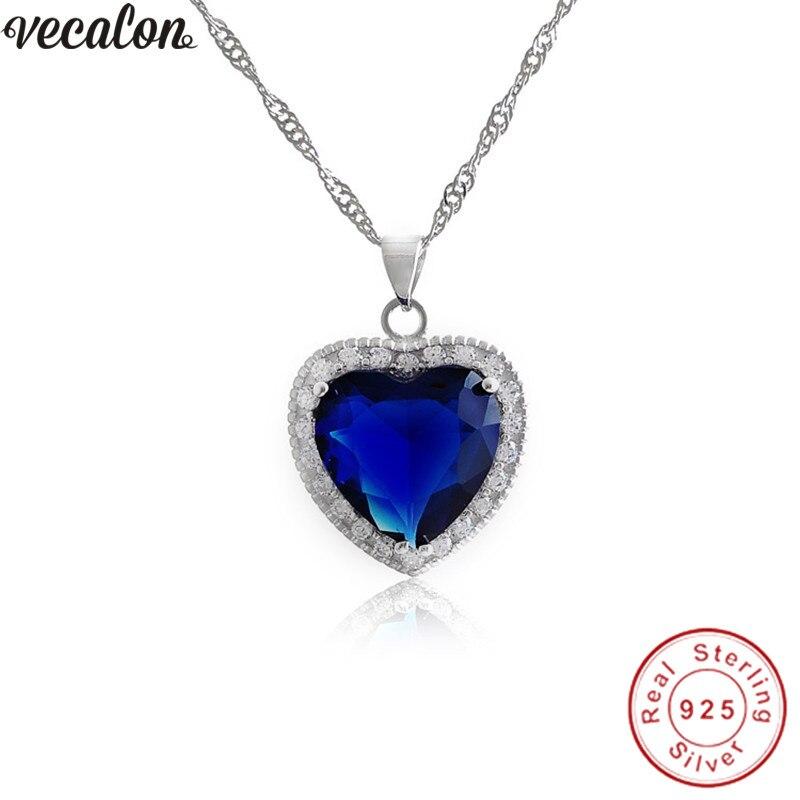 Vecalon Oceanheart anhänger 925 Sterling silber Blau zirkon cz Hochzeit Engagement Anhänger mit halskette für Frauen Brautschmuck