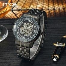 a69d234f96a 2018 nova MCE marca de Relógios Mecânicos Automáticos para homens Esqueleto  Preto Relógio do esporte de Luxo negócios relógio de.