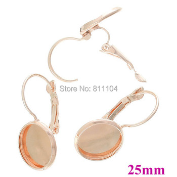 25mm New Rose Golden Plated Round Bases Bezel Cups Bases French Style Clip Hook Cabochon Settings Earrings Blank Wholesale