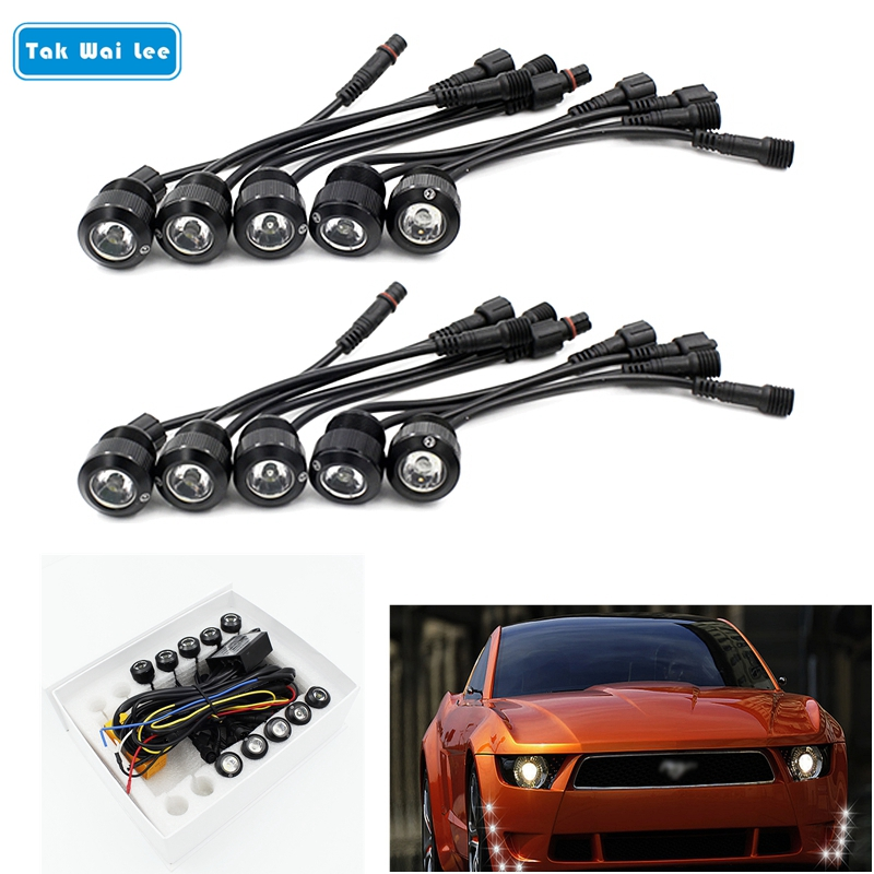 Tak Wai Lee 10 Stks / set Multifunctionele LED DRL Dagrijverlichting Auto Styling Turn Steering Eagle Eyes Aan / Uit Met Controller