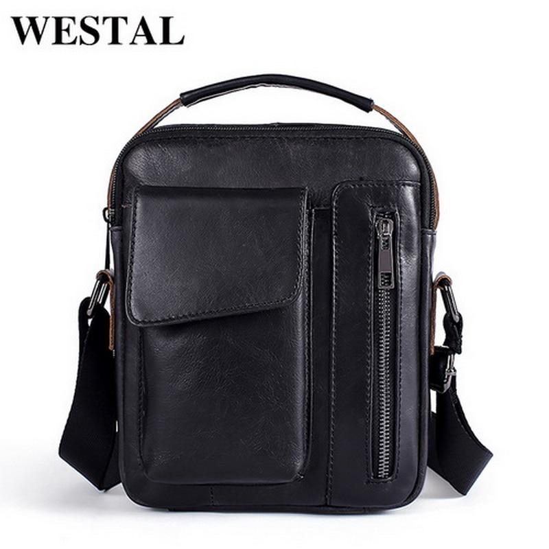 WESTAL Messenger bag men's Shoulder bag Genuine Leather small male man cowhide flap men's Crossbody bags for men Handbags  8211
