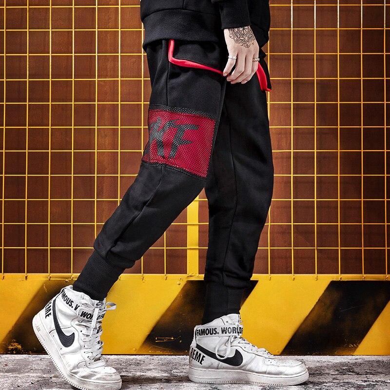 Décontracté Noir Dance De Rue Hommes Marée Pantalon Petits Couture Maille Pieds Marque Street Hiphop HzCS7zxOwq