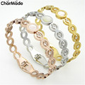 2016 Fashion Brand Luxury Jewelry Cubic Zirconia Crystal Bangles Bracelet For Women OL Stainless Steel Carter Love Bangle B205