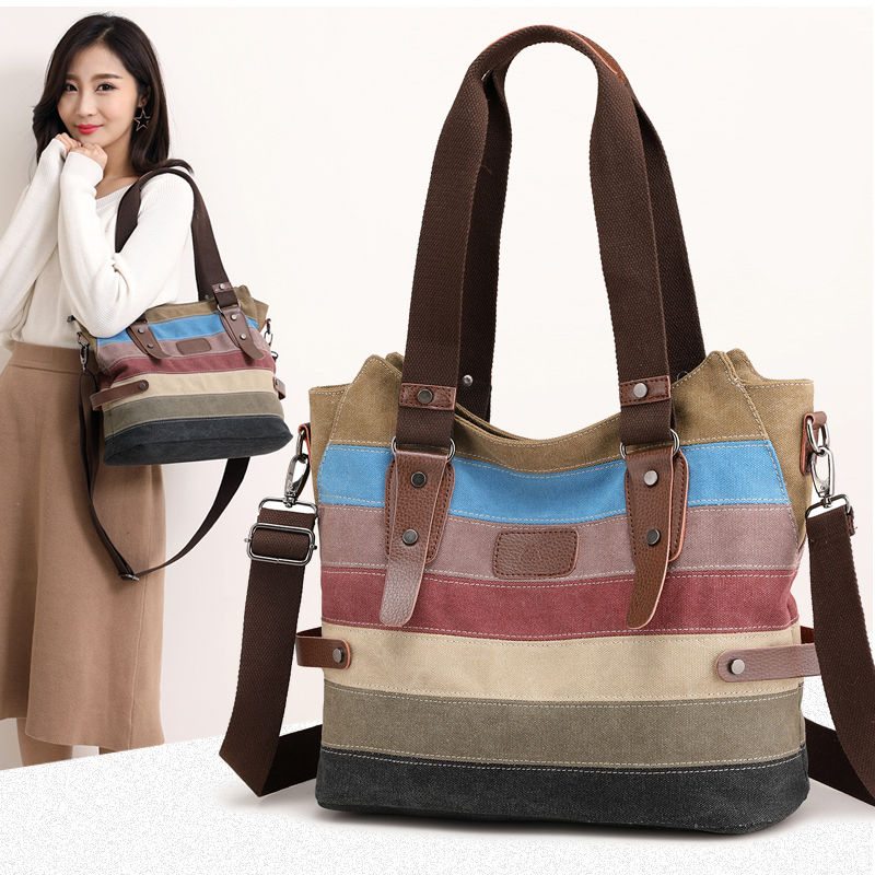 2018 Fashion Canvas Bag Women Handbags Patchwork Casual Women Shoulder Bags Female Messenger Bag Ladies Tote Shopping Purse Bag aosbos fashion portable insulated canvas lunch bag thermal food picnic lunch bags for women kids men cooler lunch box bag tote
