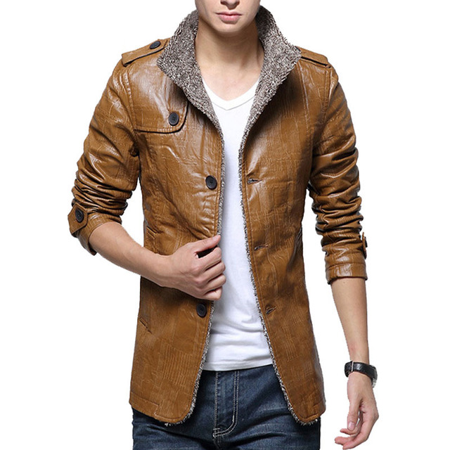 2016 Autumn Winter Mens Leather Jackets and Coats Jacket Stand Collar Thick Warm Velvet Leather Jacket Men Plus Size 4XL 92