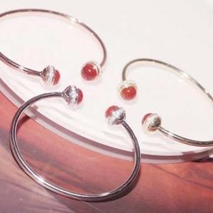 Image 2 - S925 Sterling Silber Frauen 2 Ball Ratate speed und Armreif Armband Rose Gold CZ Spin Ball Armreifen Berühmte Marke Schmuck 5 Farben
