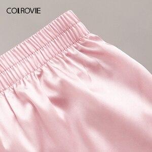 Image 4 - COLROVIE ורוד פרחוני תחרה Bralette עם סאטן מכנסיים נשים סקסי פיג מה סט 2019 קיץ כותנות לילה נשי הלבשת