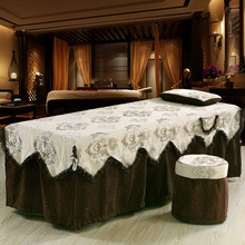 One Piece Chenille Embroidey Beauty Bed Skirt High Quality 70*190cm Beauty Salon Bedspread with Hole Customized Size Brown