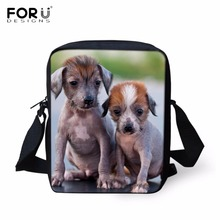 FORUDESIGNS Lovely 3D Chinese Crested Dog Puppy Print Satchels font b Kids b font Animal Design