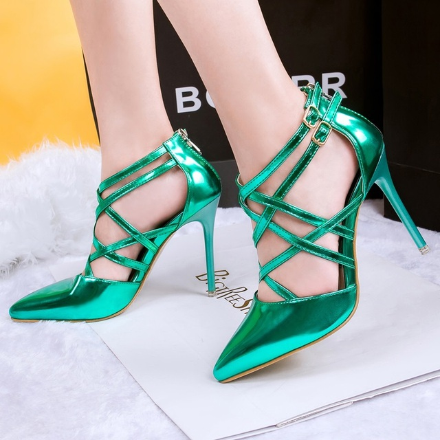 d0fb545b21 Fashion Shoes Woman Heels 6 Colors Sexy Fine With Pointed Cross Buckle Rome  Black/Green/Purple Prom Shoes High Heels 0528-1