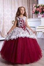 Elegant Kids Formal Lace Flower Girl Dress Pageant Formal Communion Party Prom Princess girl Dress 76(China)