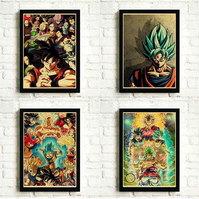 Dragon ball z-goku super saiyan luta japão anime cartaz de fotos de parede decoração de moda adesivos de parede
