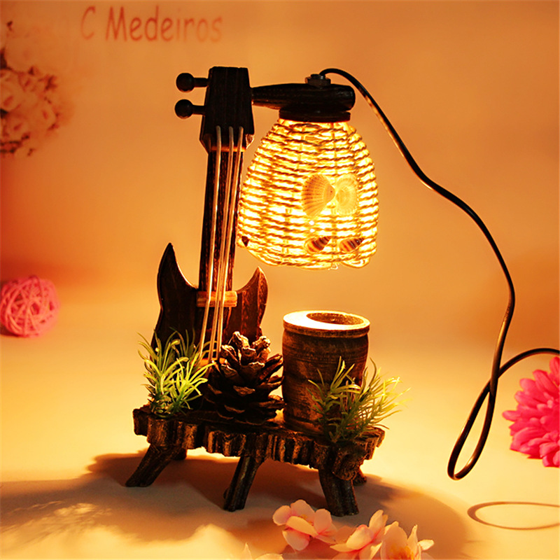 modern minimalist pastoral style new paragraph wooden Nightlight creative Home Furnishing furnishings table lamps LO8214 creative home zakka grocery shelf pastoral style trapezoidal miscellaneous succulents display