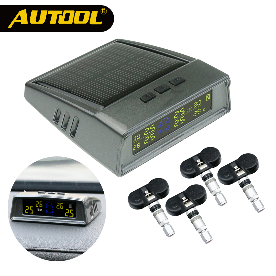 AUTOOL Car TPMS Tire Pressure Monitoring System Wireless Auto Alarm Tool Tyre Pressure Sensor Digital LCD Display With Sensor convex pouch string design voile panel t back