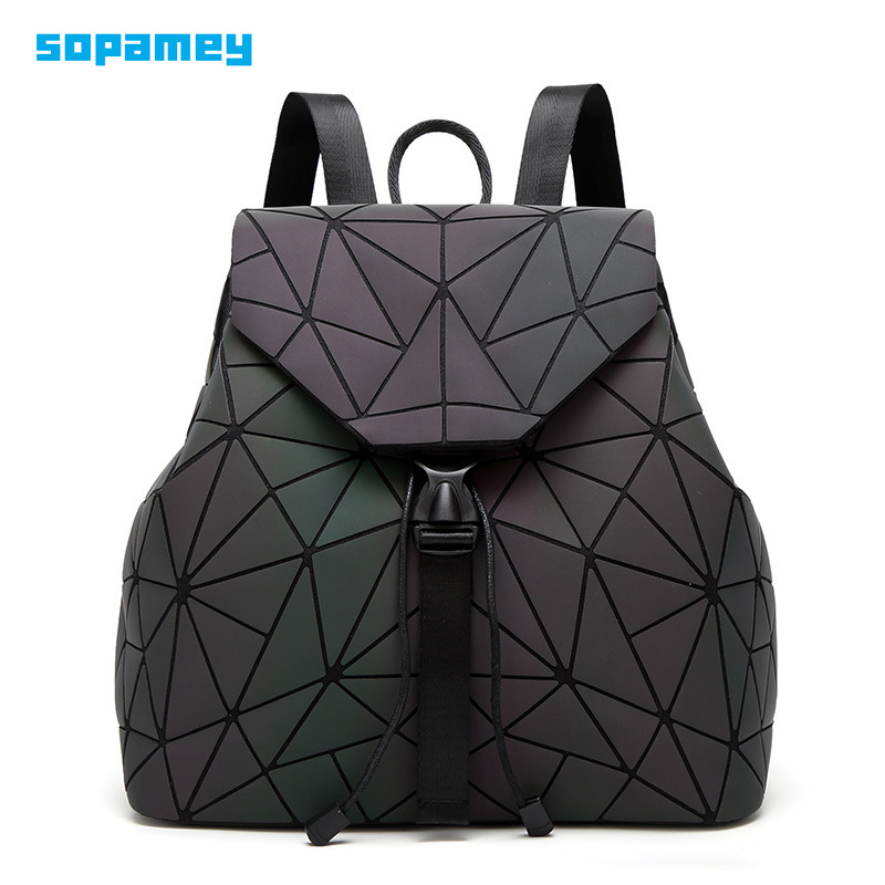 New Bao Bag Luminous Backpacks Women Drawstring Fashion Girl Daily Backpack School Female Geometry Folding Student's School Bags