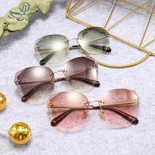 Fashion Shield Rimless Sunglasses Women Men Jelly Colors Lens Texture Mirror Leg Vintage Luxury UV400