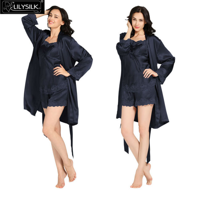 3f774d8ae3e2d Lilysilk 100% Real Silk Nightwear Camisole Shorts Robe Set Women 22 Momme  Sexy Lace Lingerie