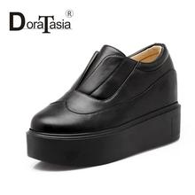 Big size 2016 new arrivals women slip on fashion thick bottom pumps leisure platform cosplay round toe lady inner high shoes