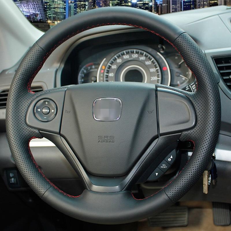 Cubierta del volante de cuero negro cosido a mano para Honda CRV 2012 - Accesorios de interior de coche - foto 2