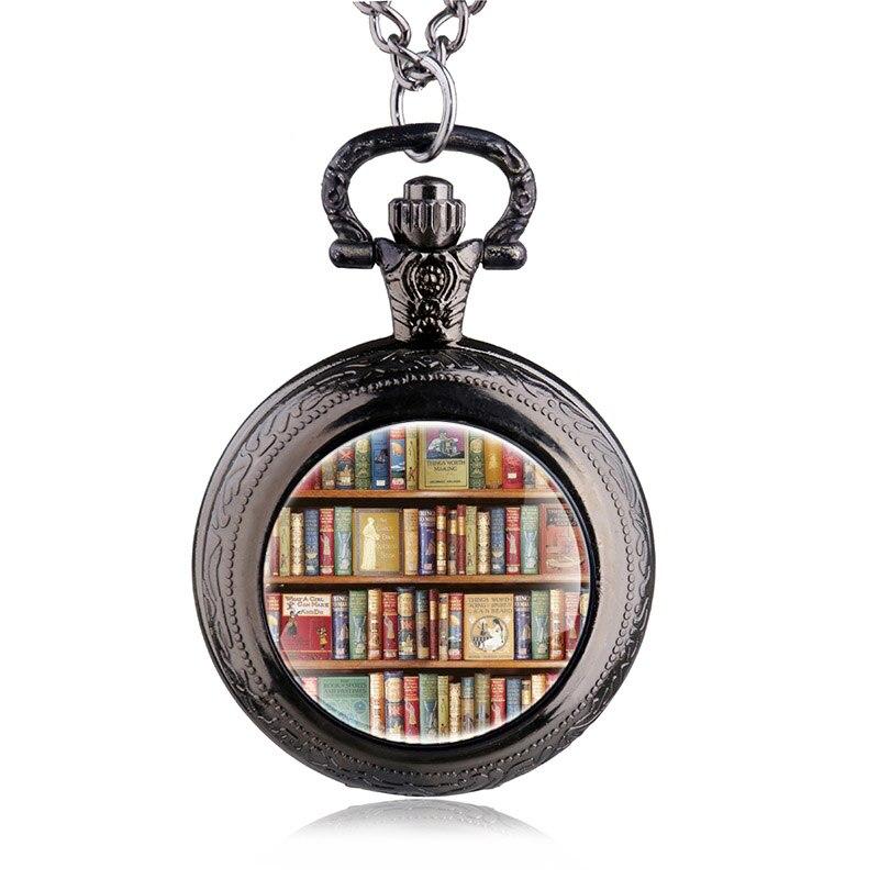 35b5e25617a Biblioteca de Livros do vintage Quartzo Relógio de Bolso Com Colar de  Corrente de Bolso Relógio de Presente Para O Estudante HB848