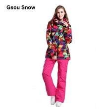 Gsou Snow Warm Women Ski Suit Waterproof Snowboard Winter Windproof Sport full suit skiing climbing protect Jacket 1406-002-024