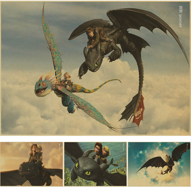 How To Train Your Dragon 2 Movie Art vintage Poster kraft wall paper ...
