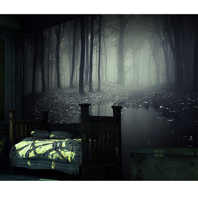 Beibehang 3D Stereoscopic Mysterious Forest Wallpaper Room Escape Haunted House Horror Background Bar Decorative Large Mural