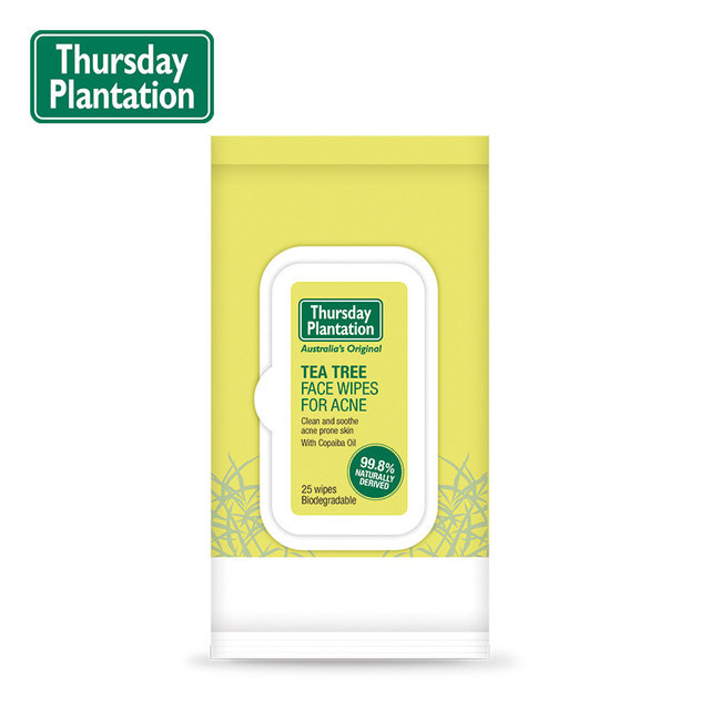 Thursday Plantation Tea Tree Face biodegradable Wipes for Acne, makeup remover, clean soothe acne prone skin with Copaiba Oil